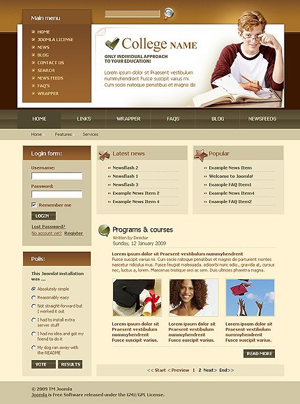 college web site